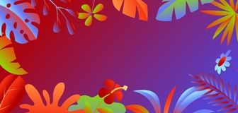 Background with tropical leaves and flowers. stock photography