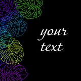 Background of tropical leaves with frame for text on black background. Royalty Free Stock Images