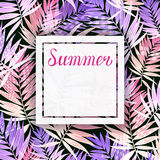 Background with Tropical palm leaves. Greeting card, invitation for holiday summer party with lettering. Stock Photos