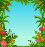 Background with tropical plants and parrots Royalty Free Stock Images