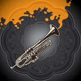 Background with trumpet. Royalty Free Stock Photography
