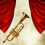 Background with  trumpet and curtain Royalty Free Stock Photo