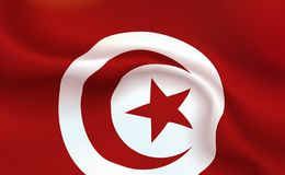 Background Tunisian Flag in folds. Republic Of Tunisia islam banner. Pennant with stripes concept up close, standard Tunis. North. Of Africa illustration stock photos