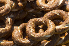 Background with Turkish bagels simit Stock Photography