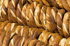 Background with Turkish bagels simit Stock Photos