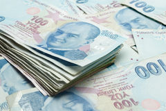 Background of Turkish Lira banknotes Stock Images
