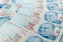 Background of Turkish Lira banknotes royalty free stock photos