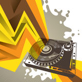 Background with turntable. Artistic background with stylized turntable Royalty Free Stock Photos