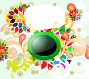 Background with TV. Colorful background with TV and floral element Royalty Free Stock Photo