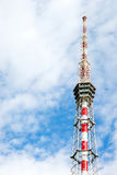 Background with TV tower and cloudy sky Stock Image