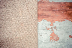 Background of two burlap texture, trees Royalty Free Stock Photography