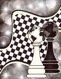 Background with a two chess pawn Stock Image