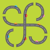 Background with two curling road white marking and cartoon cars. Flat design. Stock Photography