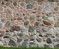 Background of two different pattern brick and stone walls Stock Photo