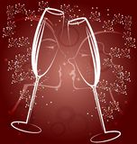 Background two glasses of champagne Royalty Free Stock Photography