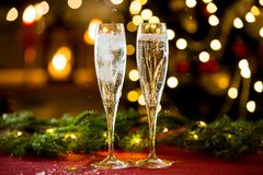 Background of two glasses of champagne royalty free stock images
