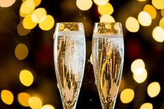 Background of two glasses of champagne stock photography