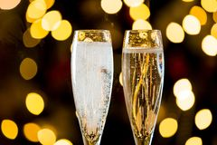 Background of two glasses of champagne stock image