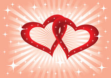 Background with two hearts. Romantic background with hearts and stars Royalty Free Stock Photography