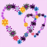 Background with two hearts with flowers Royalty Free Stock Photos