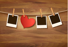 Background with two hearts and two photos. Royalty Free Stock Photo