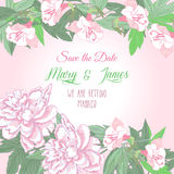 Background with two pink  peonies and flowers. Wedding background with two pink  peonies and flowers Royalty Free Stock Photography
