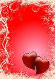 Background Two Red Hearts Stock Image