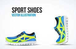 Background of Two Running shoes. Bright Sport Stock Photography