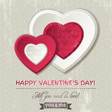 Background with two valentine hearts Royalty Free Stock Image