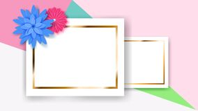 Background with rectangle frames and flowers. Background of two white rectangle frames with golden strips and colored paper flowers Royalty Free Stock Photos