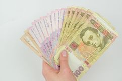 Background of ukraine hryvnia banknotes. Copy space stock photography
