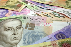 Background of the Ukrainian hryvnia. Selective focus limited to word Ukraine Stock Photos