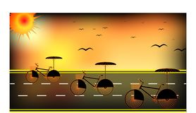 Background with umbrella bicycles on the road - vector illustration vector illustration