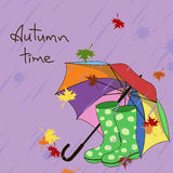 Background with umbrella and gumboots Stock Image