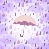 Background with an umbrella  and rain Royalty Free Stock Photos