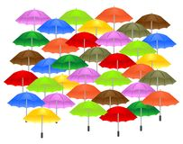 Background with umbrellas, cdr vector. Colorful umbrellas on white background, vector format Stock Photo