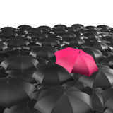Background of umbrellas with a single Red umbrella Royalty Free Stock Photo