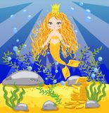 background with an underwater world in a children\'s style. A mermaid is sitting on a rock. Wooden chest with gold on the bottom o
