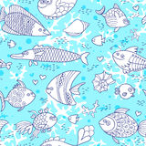 Background underwater world. Seamless pattern with cute fish, shells, corals. Stock Image