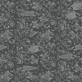 Background of underwater world. Seamless pattern with cute fish, shells, corals. Vector illustration Stock Image
