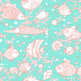 Background of underwater world. Seamless pattern with cute fish, shells, corals. Vector illustration Stock Photography