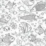 Background underwater world. Seamless pattern with cute fish, shells, corals. Background underwater world. Seamless pattern with cute fish. Vector illustration Stock Image
