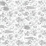 Background underwater world. Seamless pattern with cute fish, shells, corals. Background underwater world. Seamless pattern with cute fish Vector illustration Stock Images