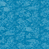 Background of underwater world. Seamless pattern with cute fish, shells, corals. Vector illustration Royalty Free Stock Images