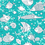 Background underwater world. Seamless pattern with cute fish, shells, corals. Vector illustration Stock Photos