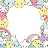 Background with unicorn - kawaii style stock photography