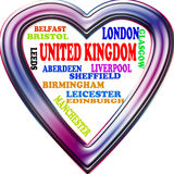 Background. United Kingdom in the Europe and United Kingdom's cities as background, with form of the heart Stock Photo