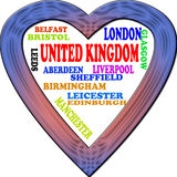 Background. United Kingdom in the Europe and United Kingdoms cities as background, with form of the heart Vector Illustration