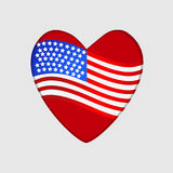 Background with United States flag heart. Royalty Free Stock Image