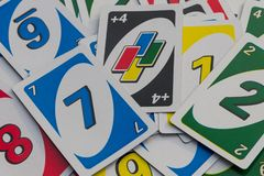 Background of the Uno playing cards. American card game royalty free stock photo